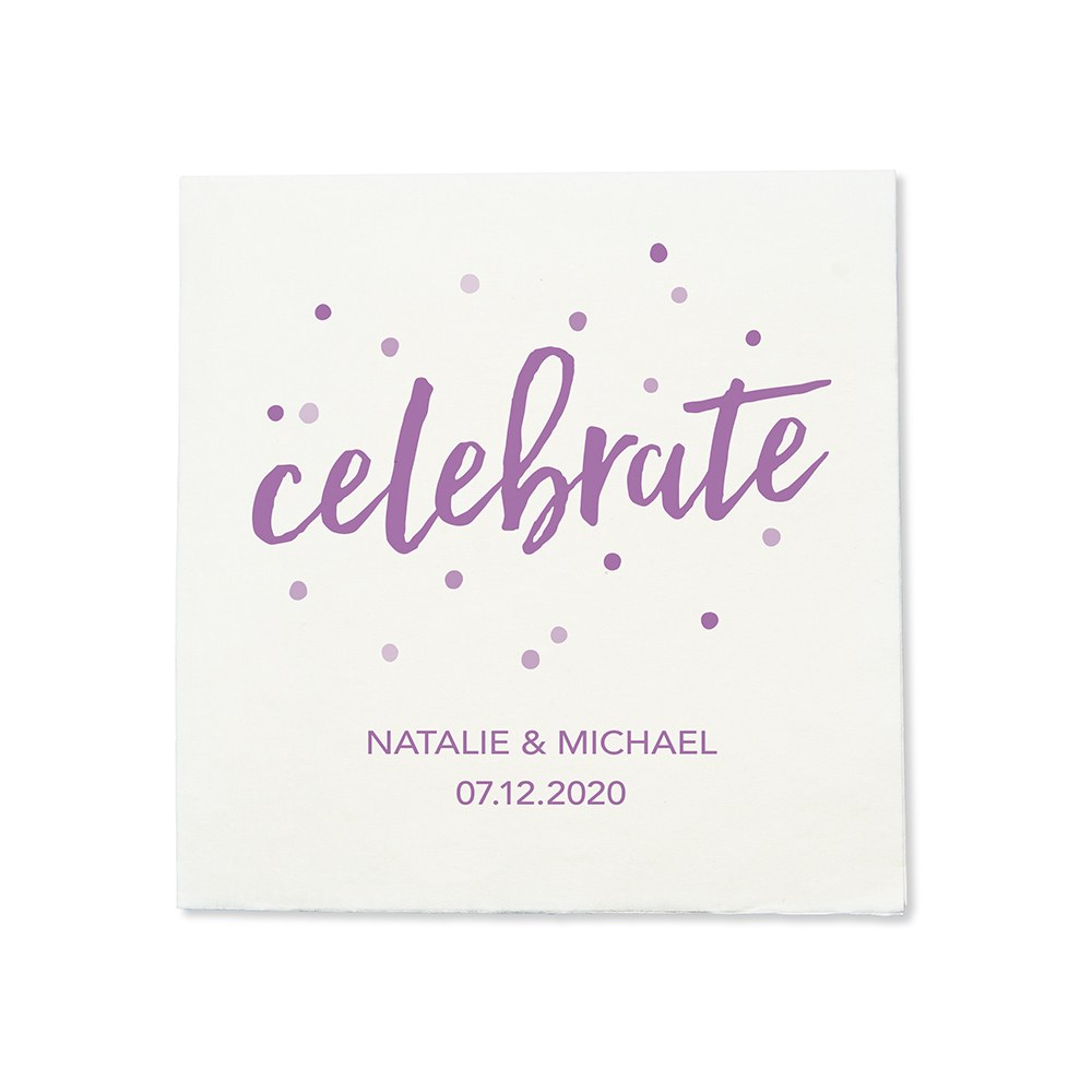 Personalized Color Printed Wedding Napkins - Celebrate