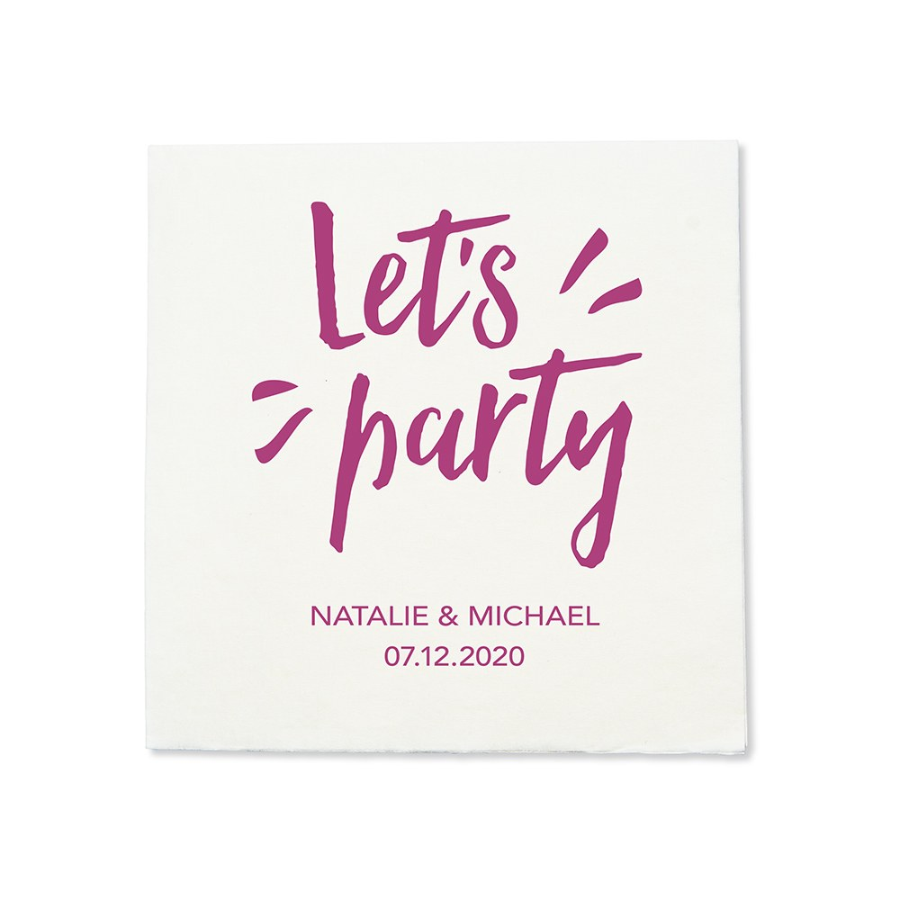 Personalized Color Printed Wedding Napkins - Let's Party