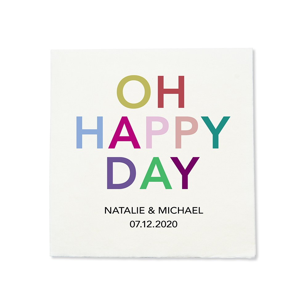 Personalized Color Printed Wedding Napkins - Oh Happy Day