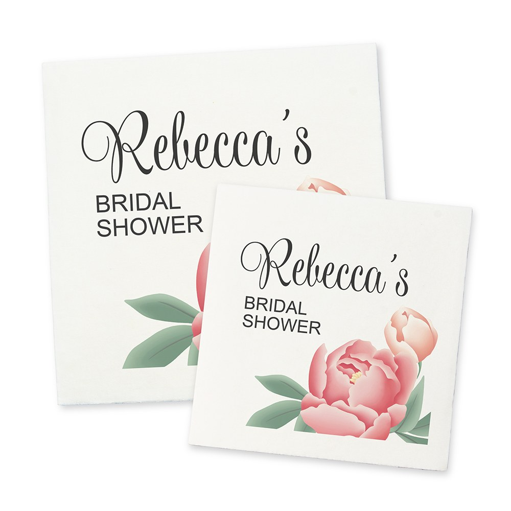 Personalized Color Printed Wedding Napkins - Modern Floral