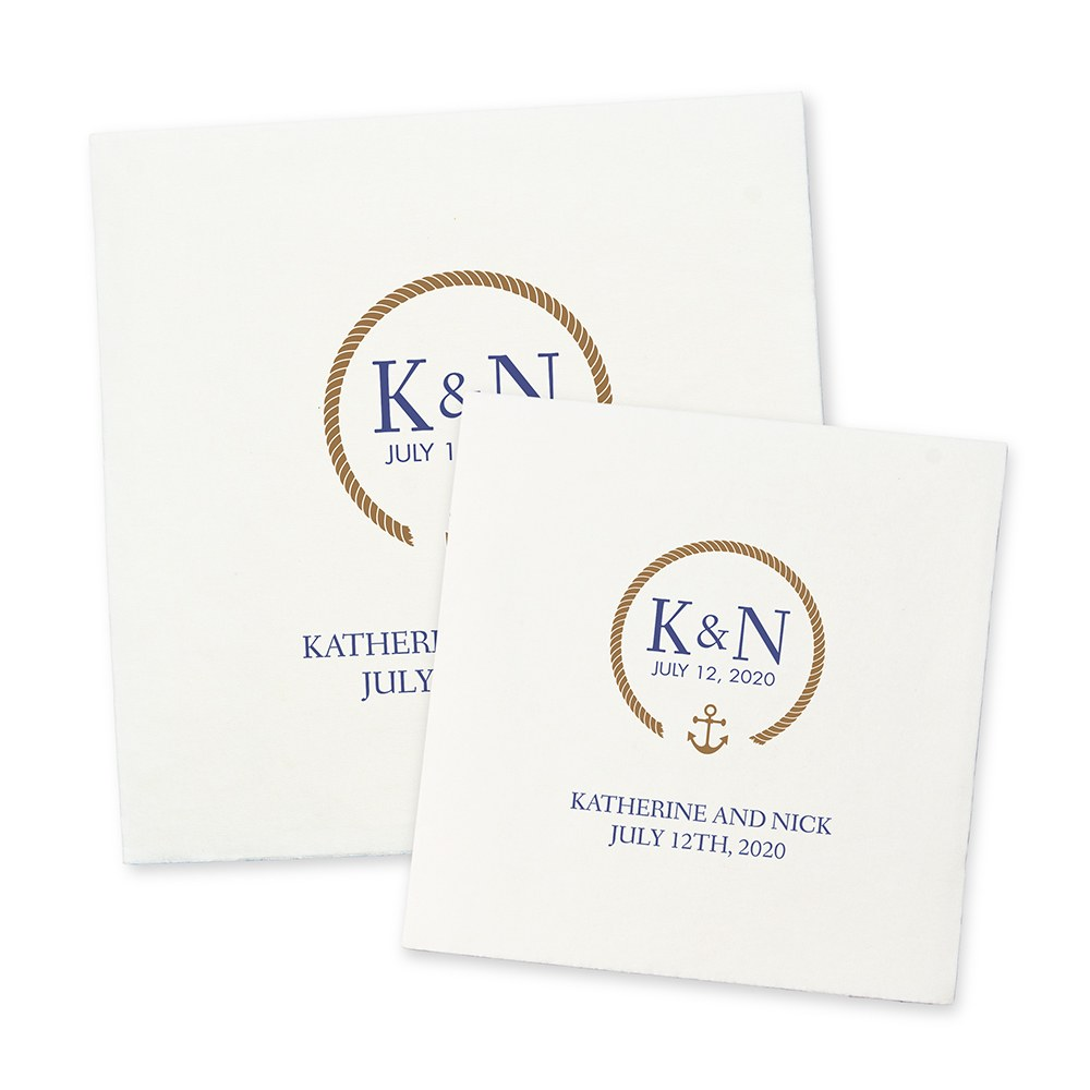 Personalized Color Printed Wedding Napkins - Nautical Rope