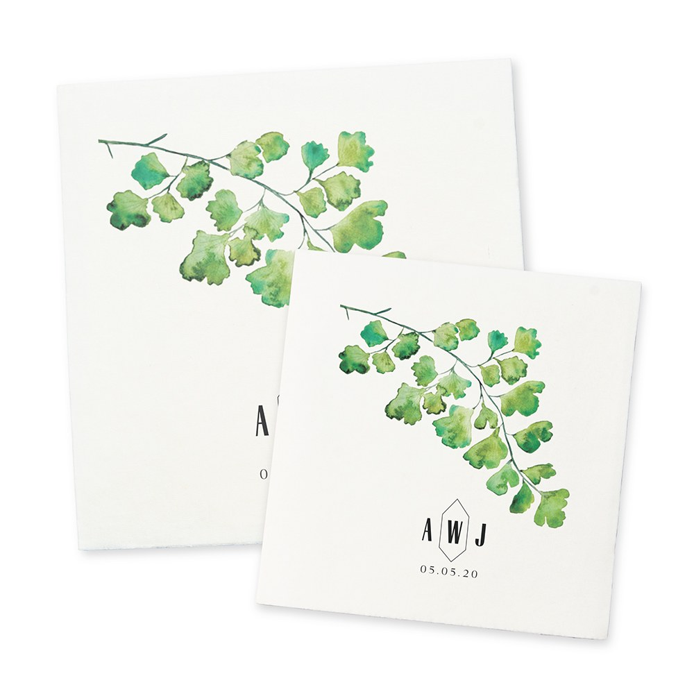 Personalized Color Printed Wedding Napkins - Greenery