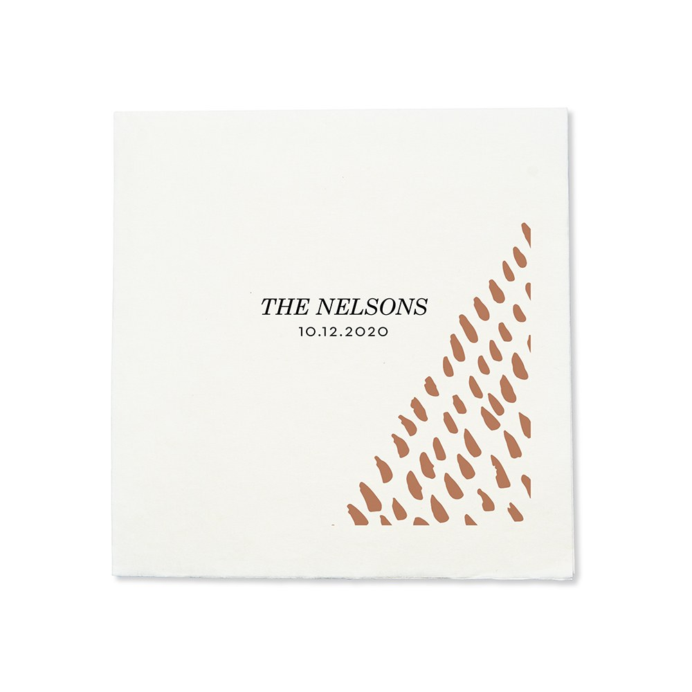 Personalized Color Printed Wedding Napkins - Blush Retro Luxe