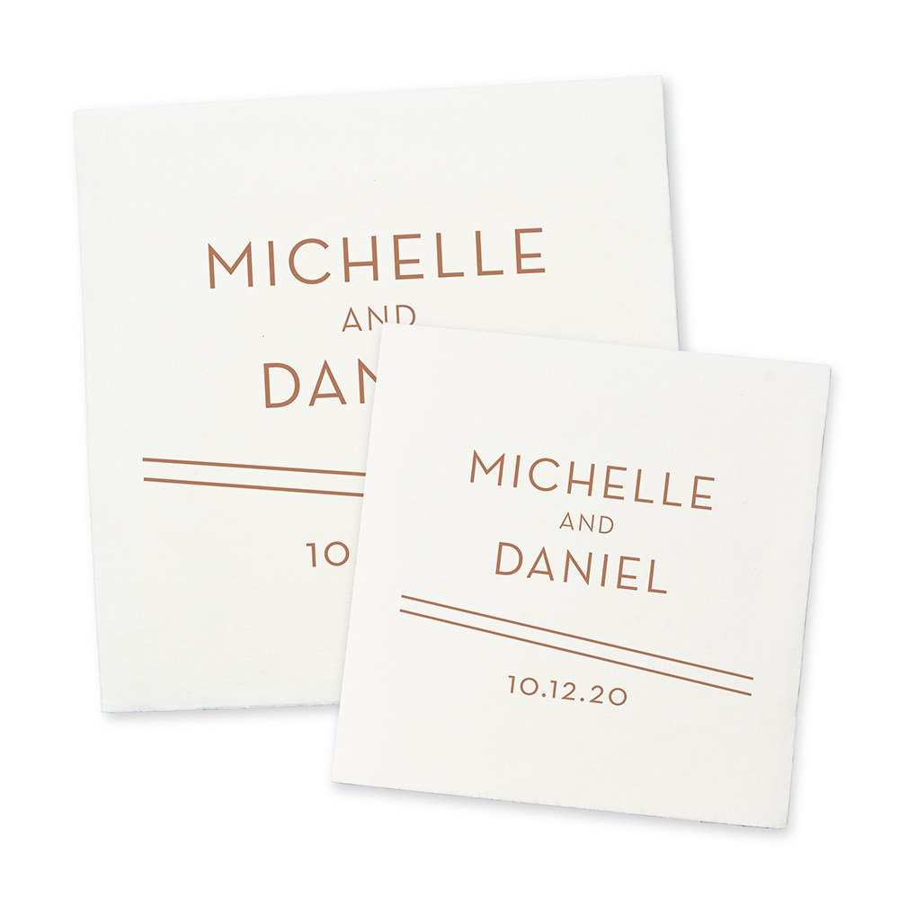 Personalized Color Printed Wedding Napkins - Couple Retro Luxe