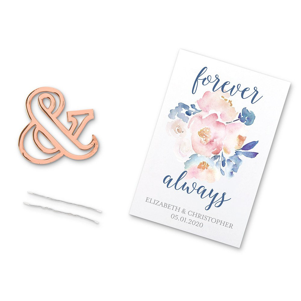 Rose Gold Ampersand Bottle Opener Wedding Favor - Forever & Always