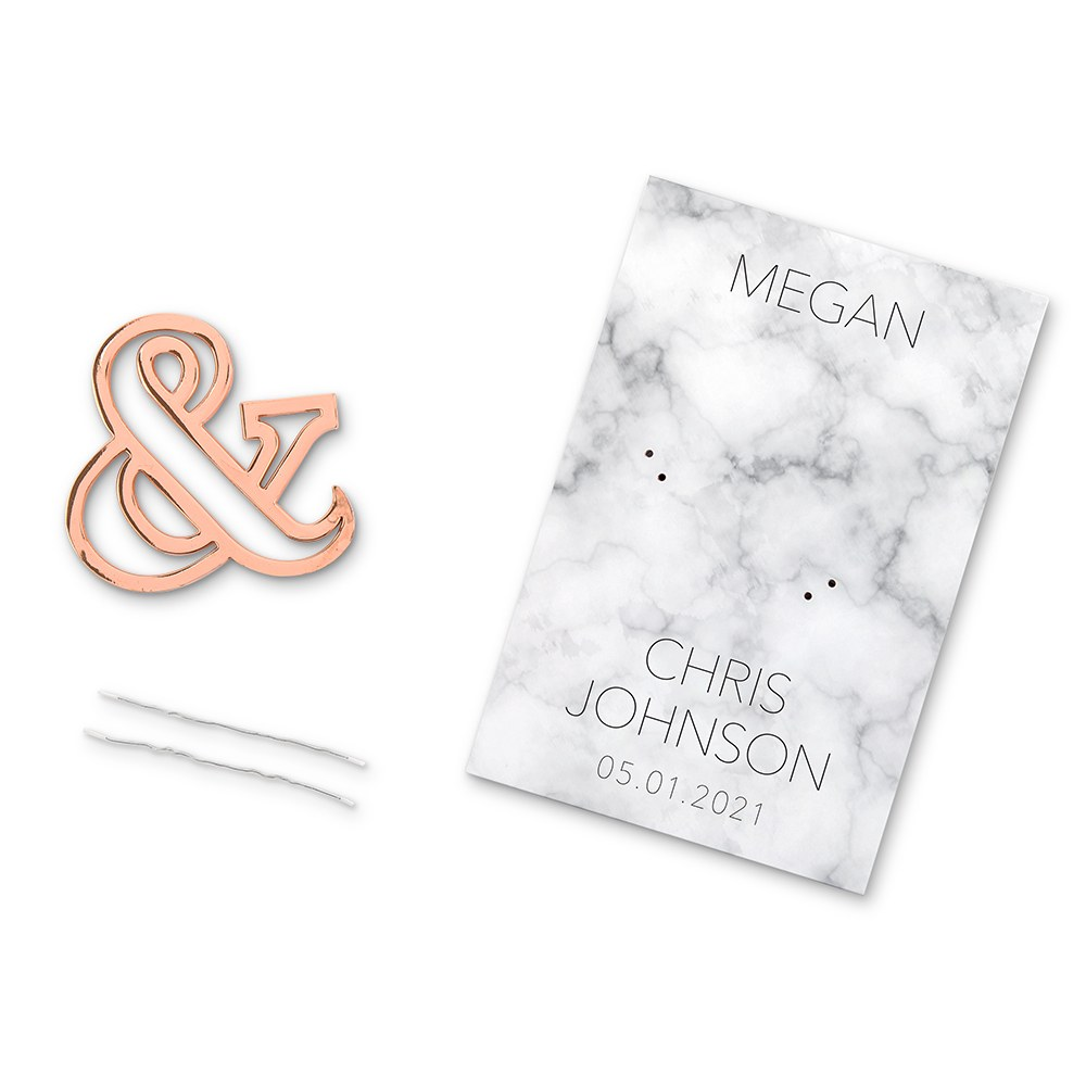 Rose Gold Ampersand Bottle Opener Wedding Favor - Geo Marble