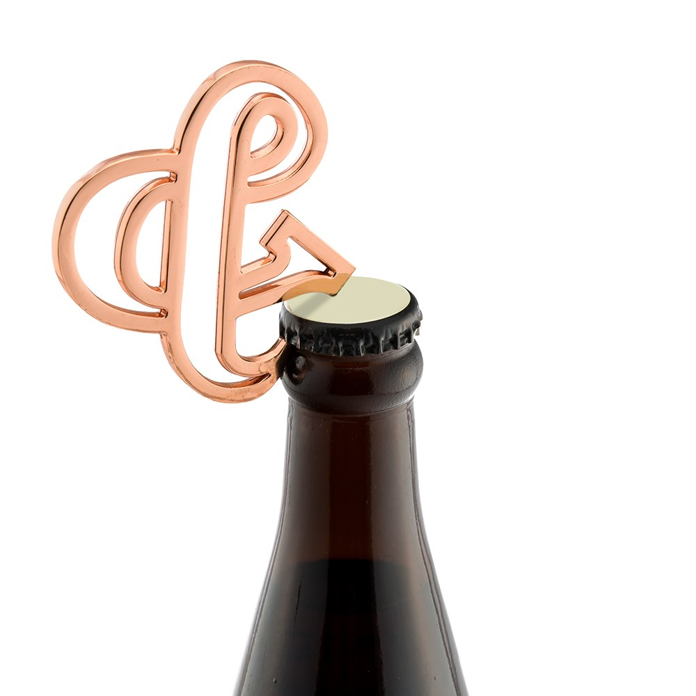 Rose Gold Ampersand Bottle Opener Wedding Favor - Retro Luxe