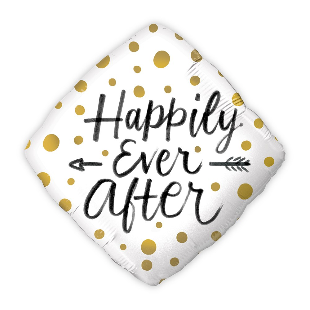 Mylar Foil Helium Party Balloon Wedding Decoration - Gold Polka-Dot Happily Ever After