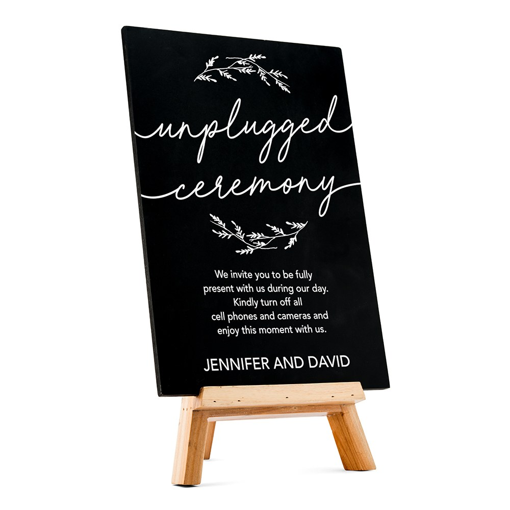 Custom Wedding Chalkboard Sign - Unplugged Ceremony