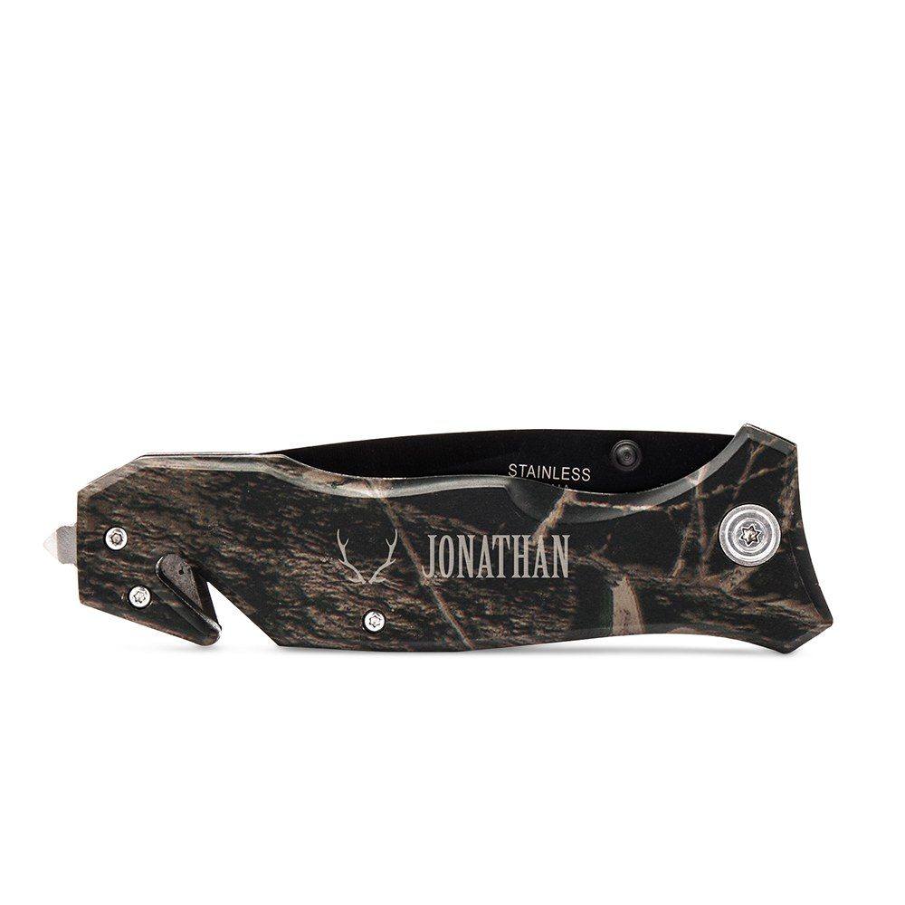 Personalized Camouflage Single Blade Pocket Knife - Antler Motif