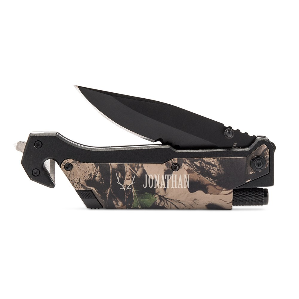 Personalized Camouflage Single Blade Pocket Knife with Light - Antler Motif