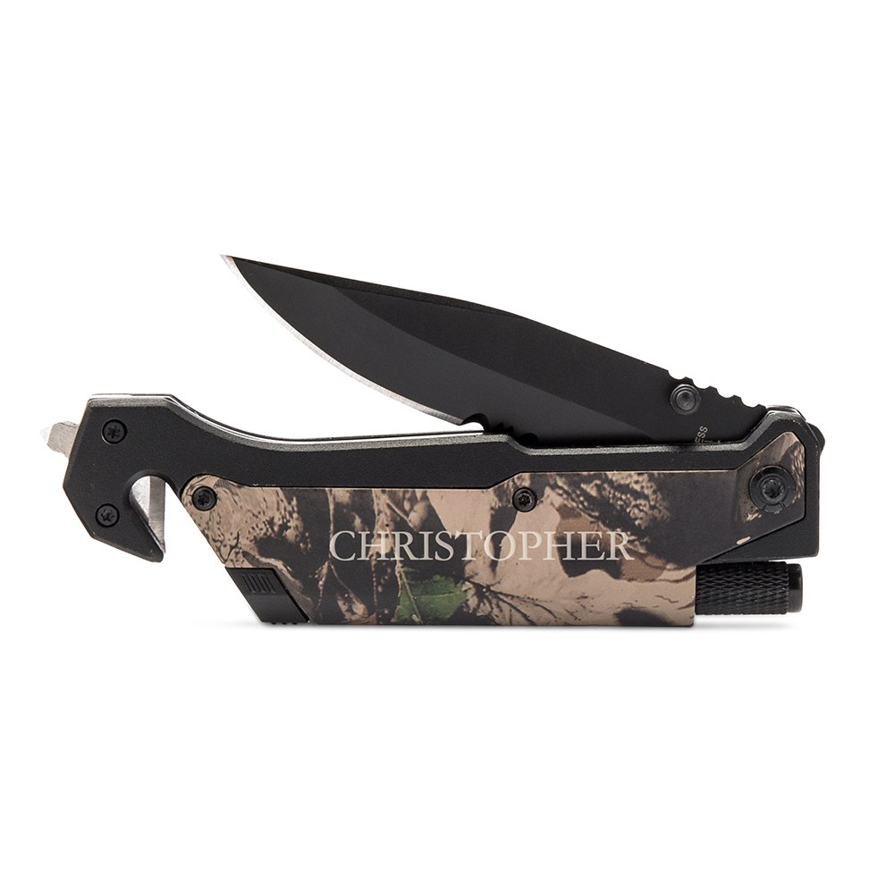 Personalized Camouflage Pocket Knife with Light - Serif Font