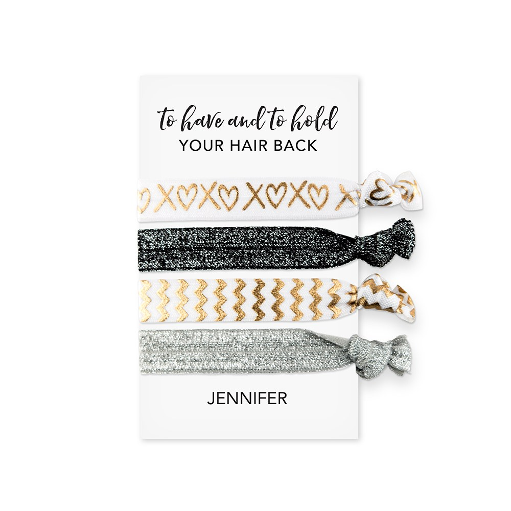 Custom Women's Black and Gold Printed Hair Ties - To Have and To Hold Your Hair Back
