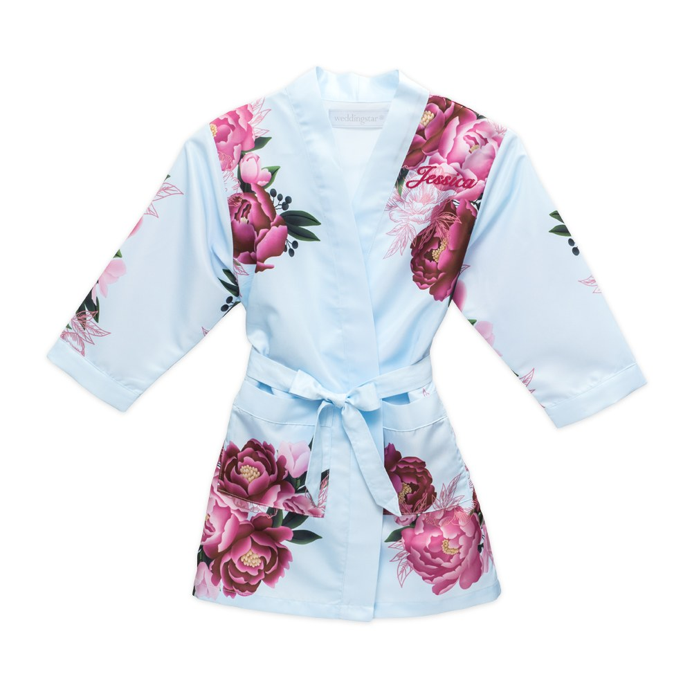 Personalized Junior Bridesmaid Satin Robe with Pockets - Light Blue & Red Blissful Blooms
