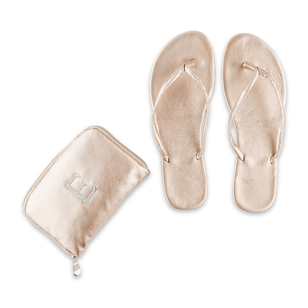 Personalized Foldable Flip Flop Wedding Favors - Metallic Gold