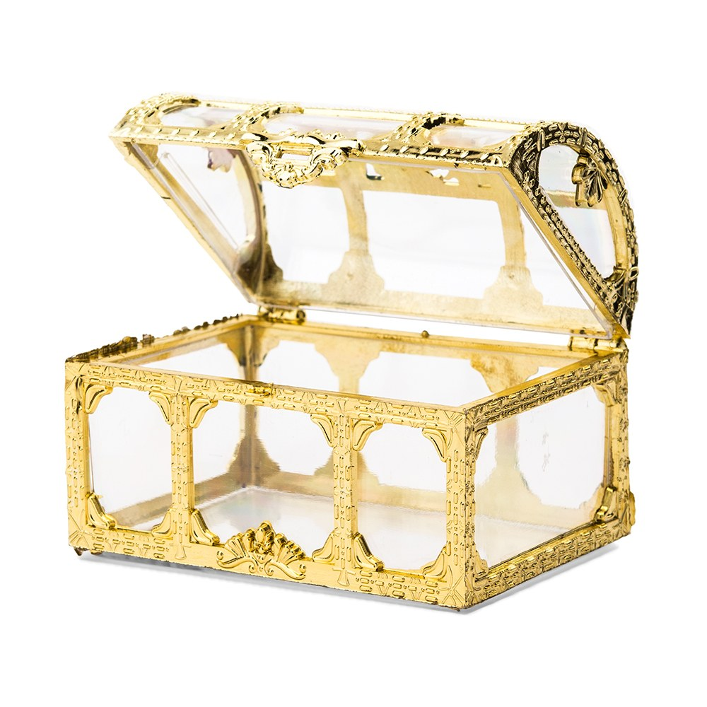 Small Clear Plastic Wedding Favor Container Set - Gold Treasure Chest
