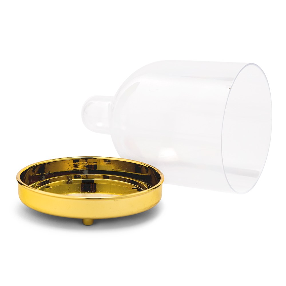 Small Clear Plastic Wedding Favor Container Set - Dome with Gold Bottom