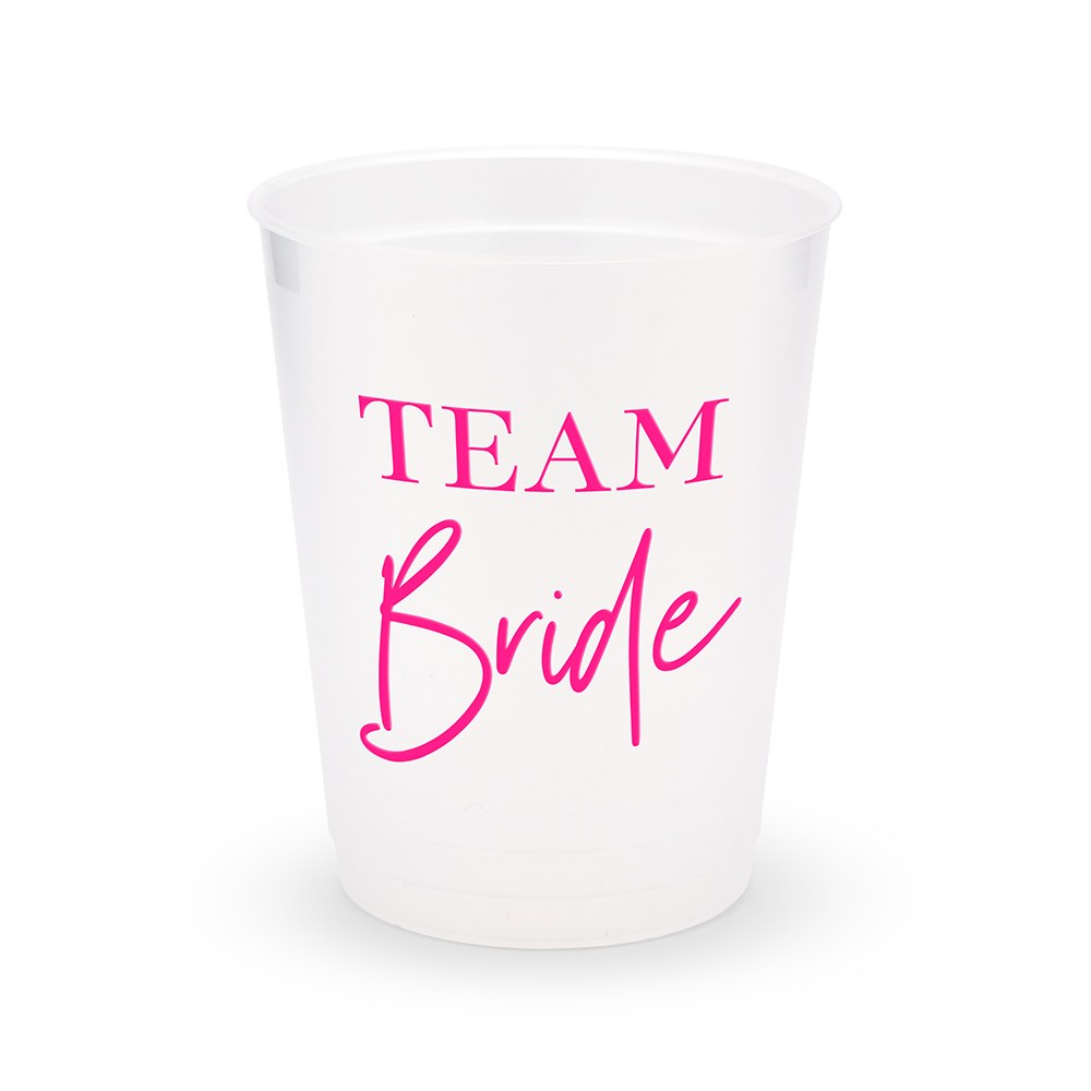 Personalized Frosted Plastic Party Cups - Team Bride Script - Set of 8