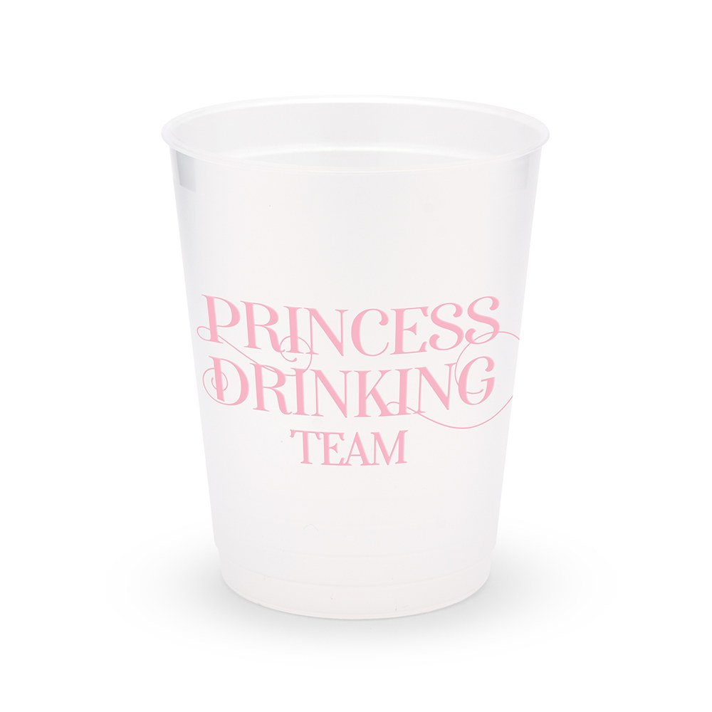 Personalized Frosted Plastic Party Cups - Princess Drinking Team - Set of 8