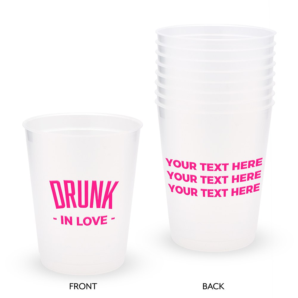 Personalized Frosted Plastic Party Cups - Drunk In Love - Set of 8