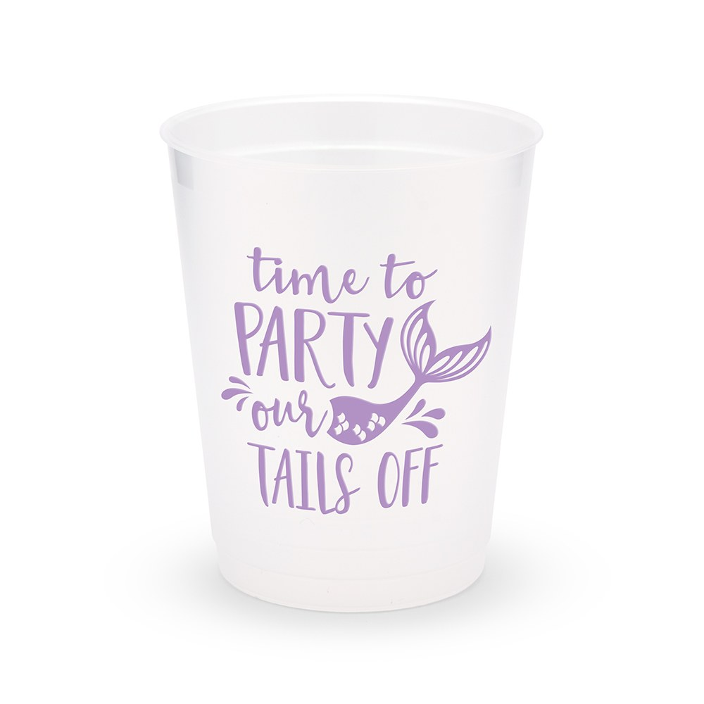 Personalized Frosted Plastic Party Cups - Party Our Tails Off - Set of 8