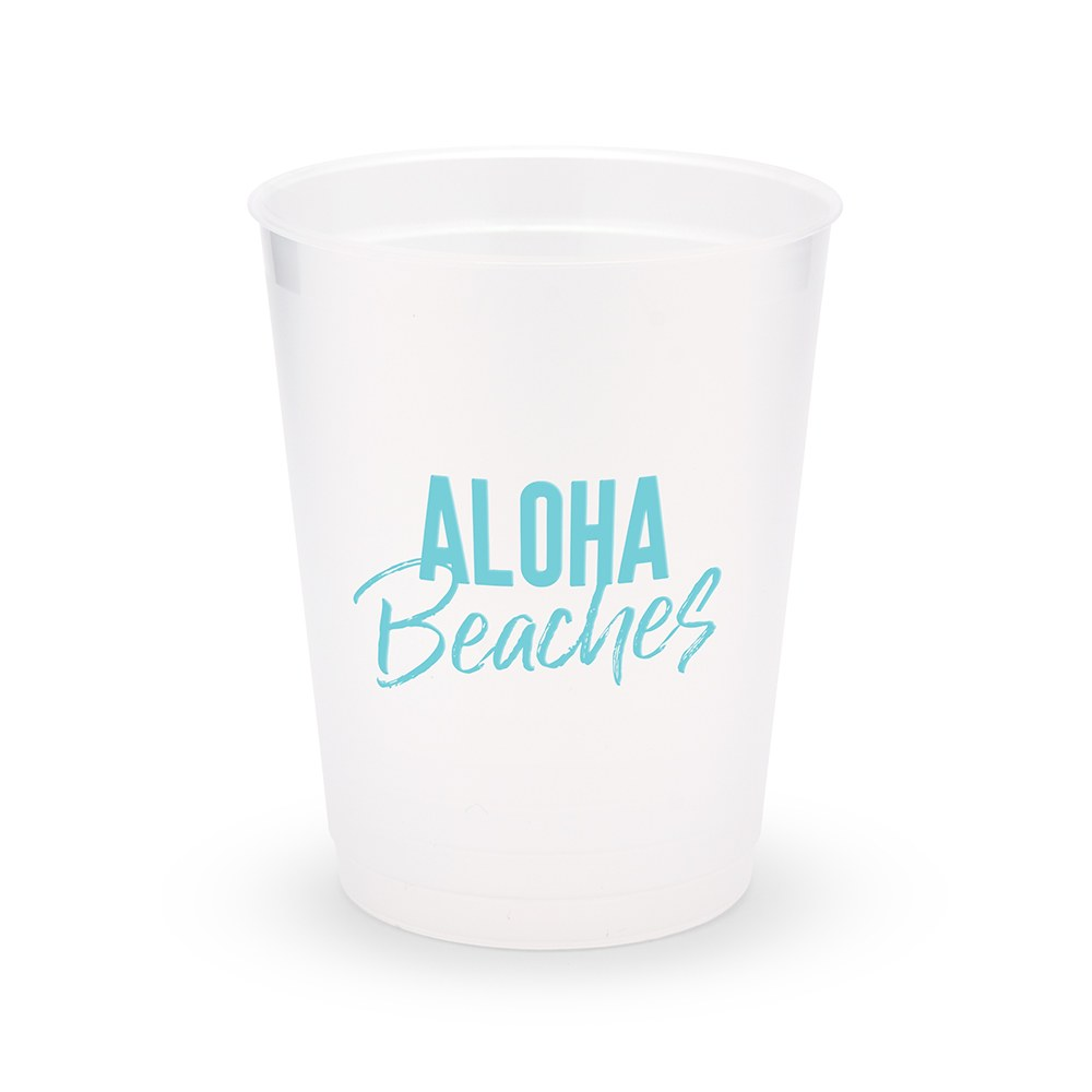 Personalized Frosted Plastic Party Cups - Aloha Beaches - Set of 8