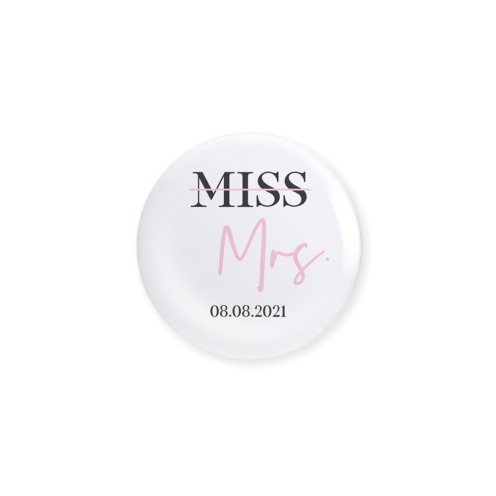 Personalized Bridal Party Wedding Pins - Miss to Mrs