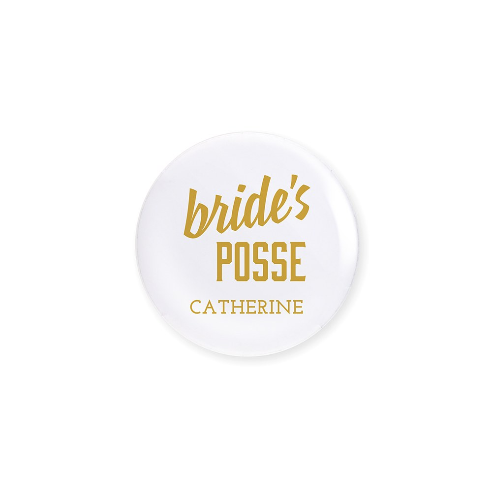 Personalized Bridal Party Wedding Pins - Bride's Posse