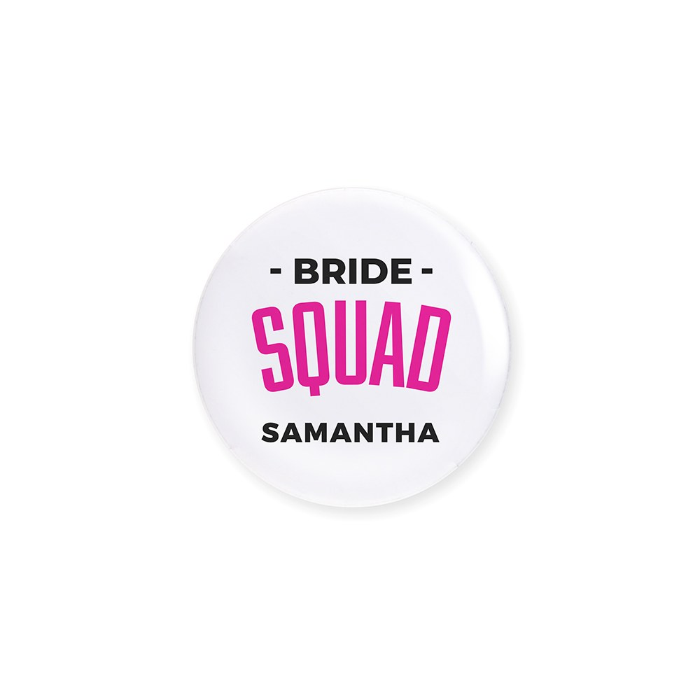 Personalized Bridal Party Wedding Pins - Glam Bride Squad