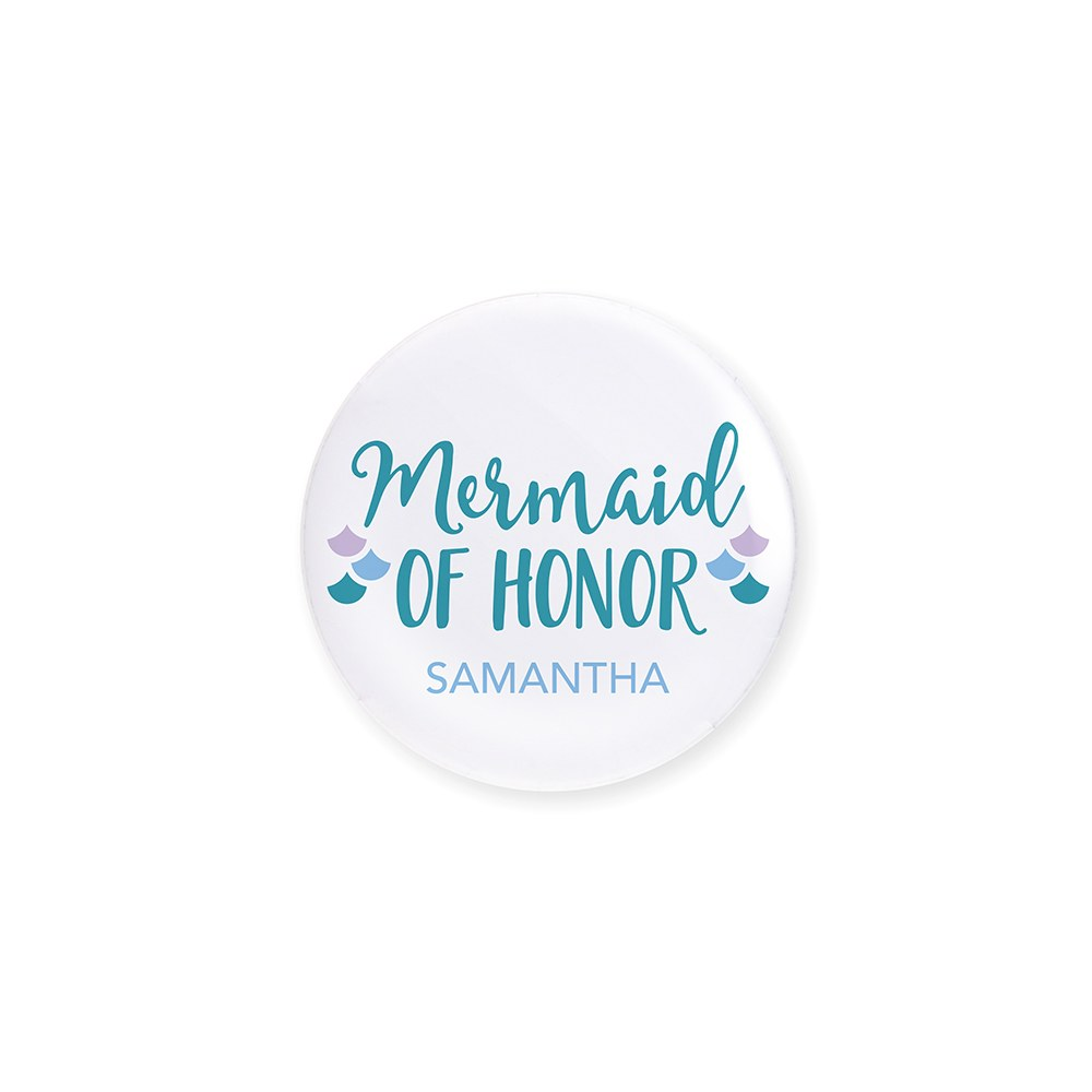 Personalized Bridal Party Wedding Pins - Mermaid of Honor