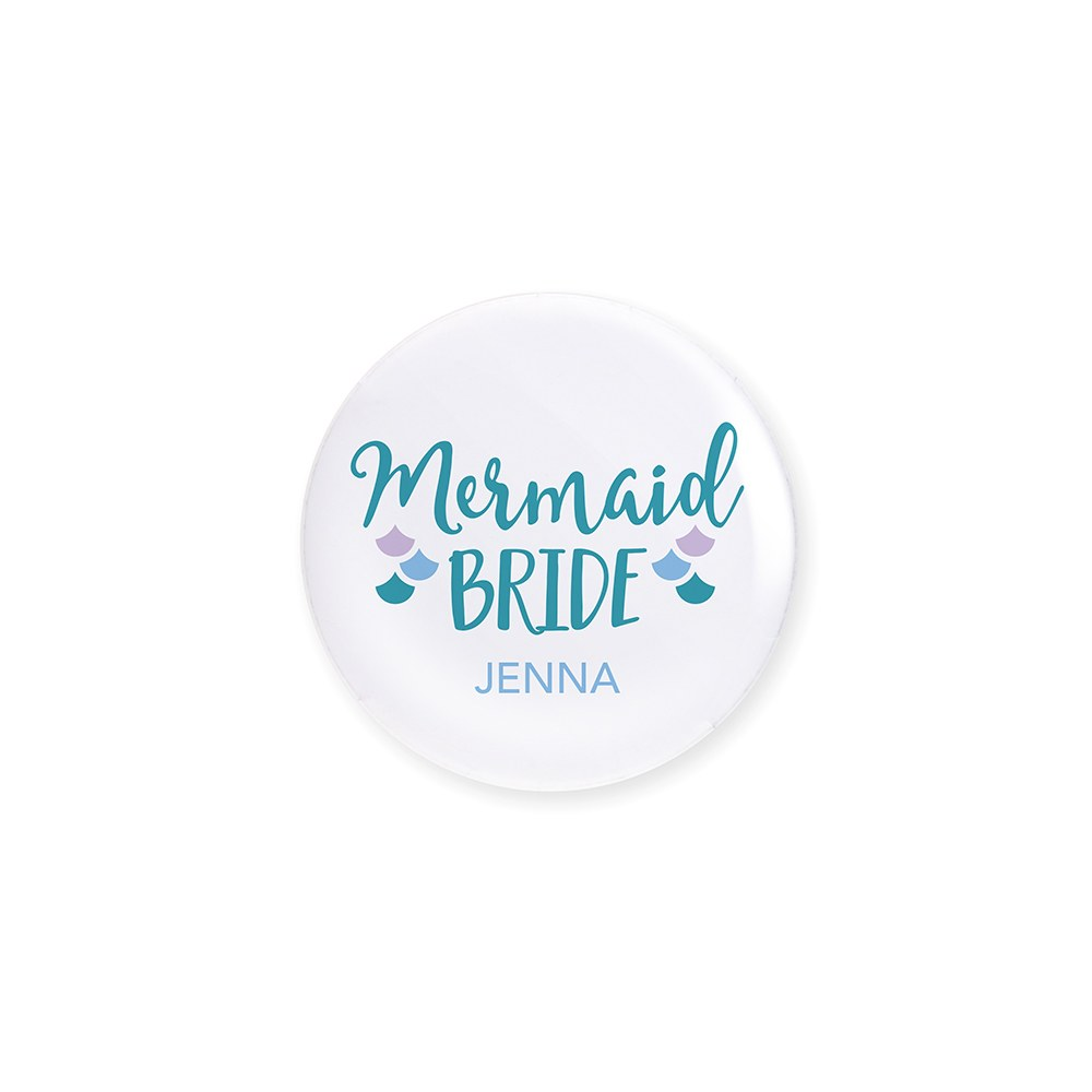Personalized Bridal Party Wedding Pins - Mermaid Bride