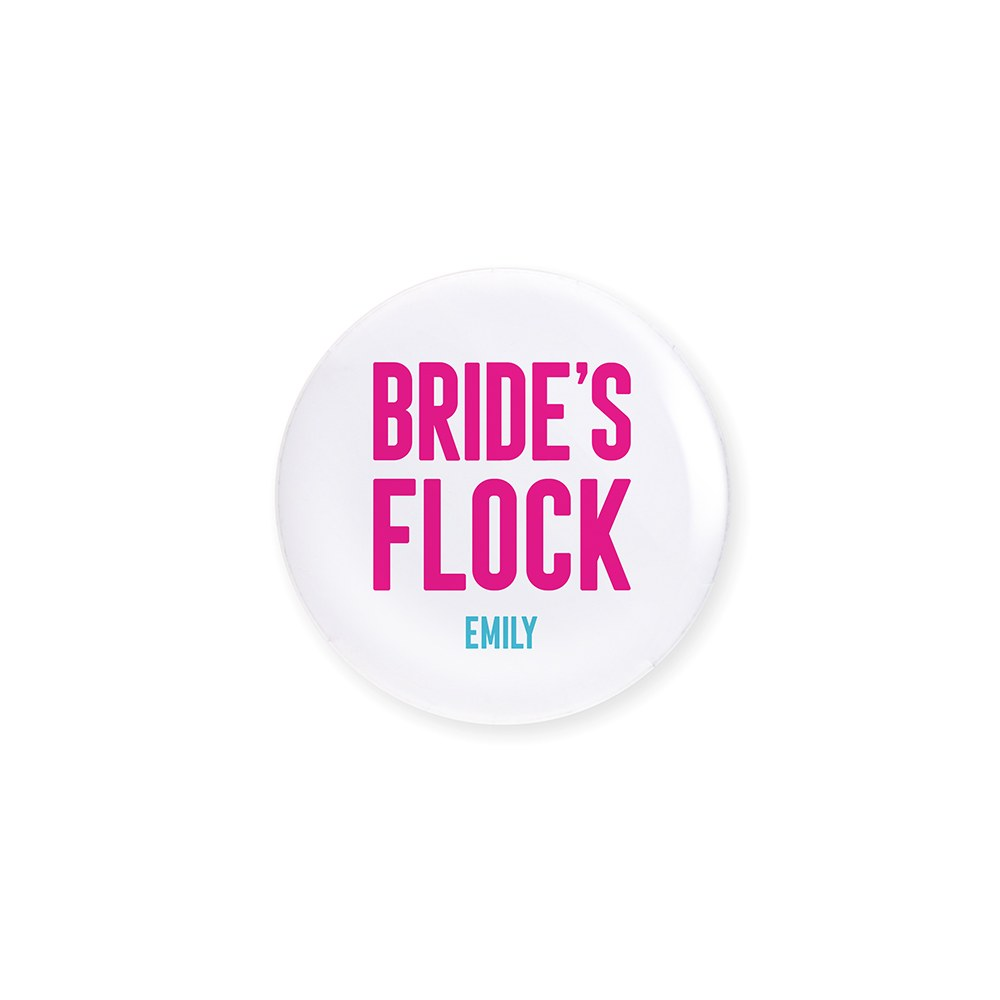Personalized Bridal Party Wedding Pins - Bride's Flock