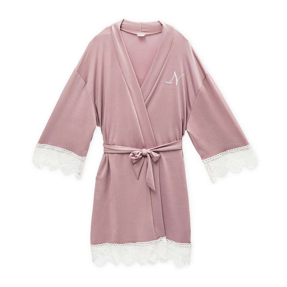 Personalized Junior Bridesmaid Jersey Knit Robe With Lace Trim - Mauve