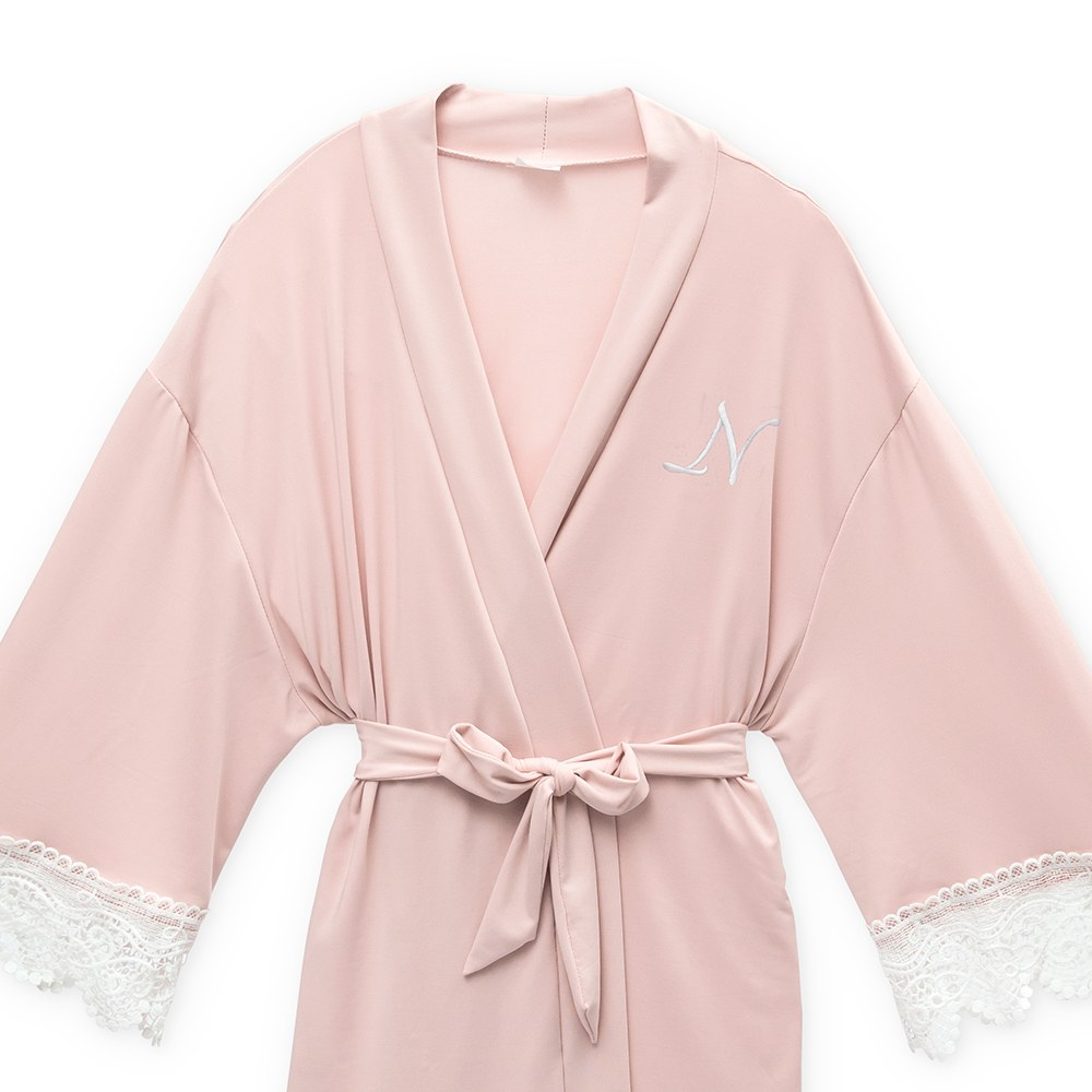 Personalized Junior Bridesmaid Jersey Knit Robe With Lace Trim - Blush Pink