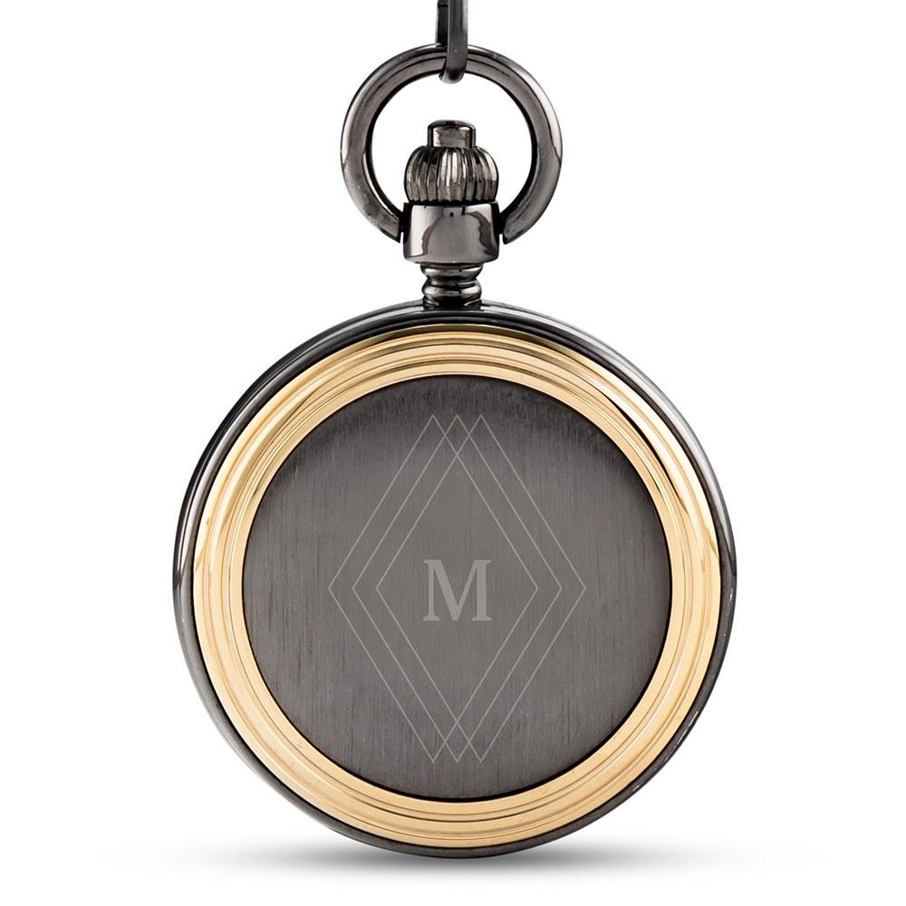 Personalized Gold Frame Gunmetal Pocket Watch & Fob - Diamond Emblem Monogram