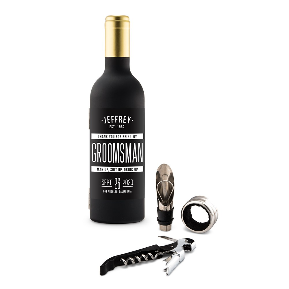 Personalized Wine Bottle Shaped Corkscrew Gift Set - Sans Serif Groomsman
