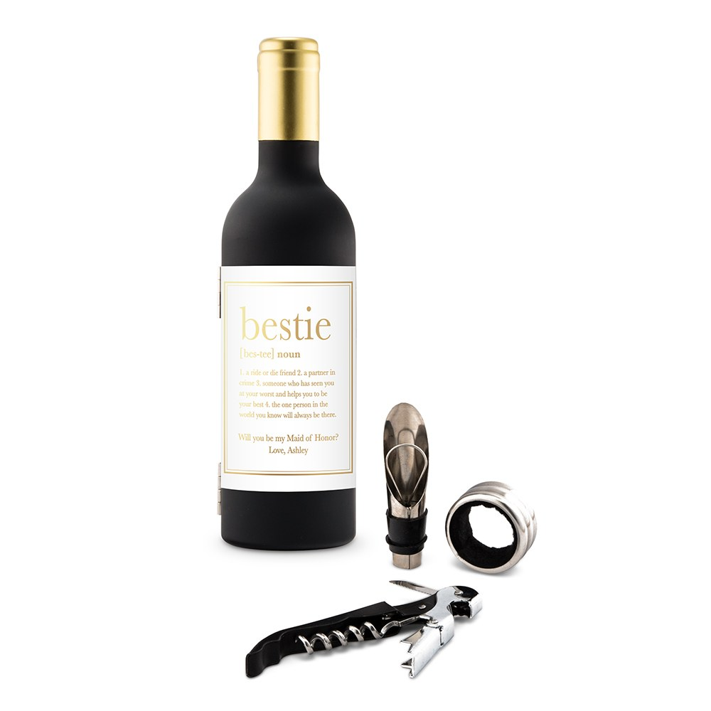 Personalized Wine Bottle Shaped Corkscrew Gift Set - Bestie