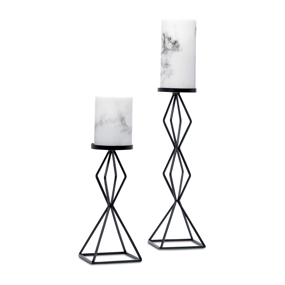 Tall Geo Pillar Candle Holder Set of 2 - Black