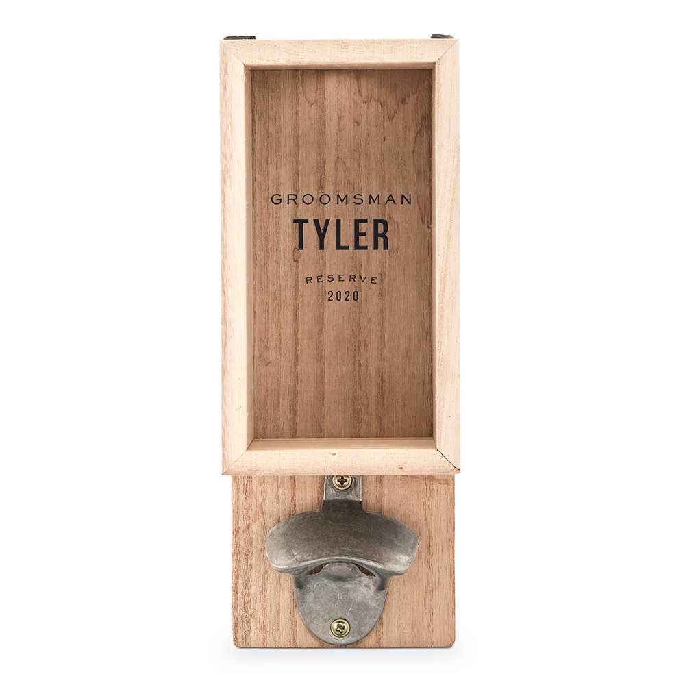 Personalized Wall Mounted Bottle Opener & Bottle Cap Holder - Groomsman Reserve