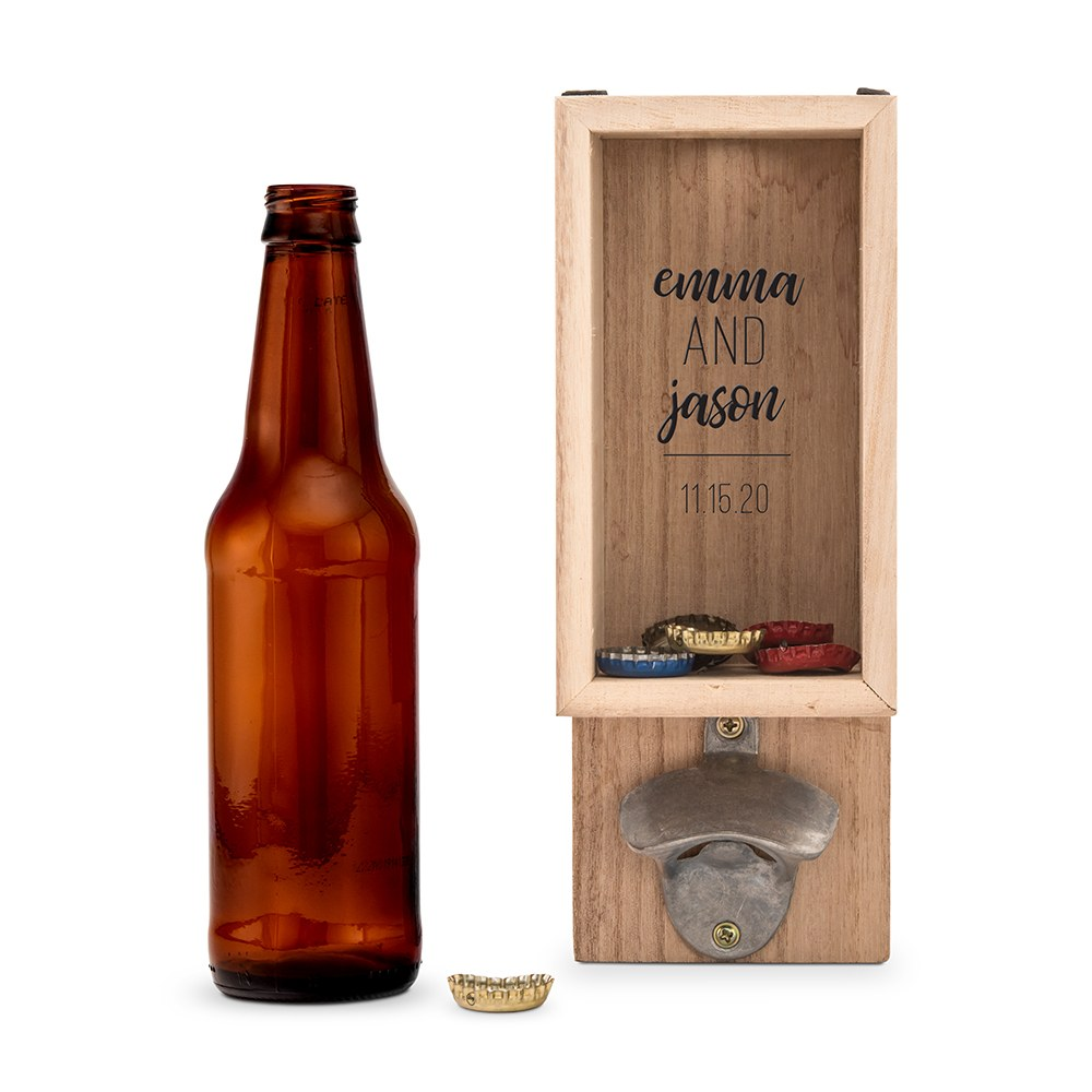 Personalized Wall Mounted Bottle Opener & Bottle Cap Holder - Signature Couple