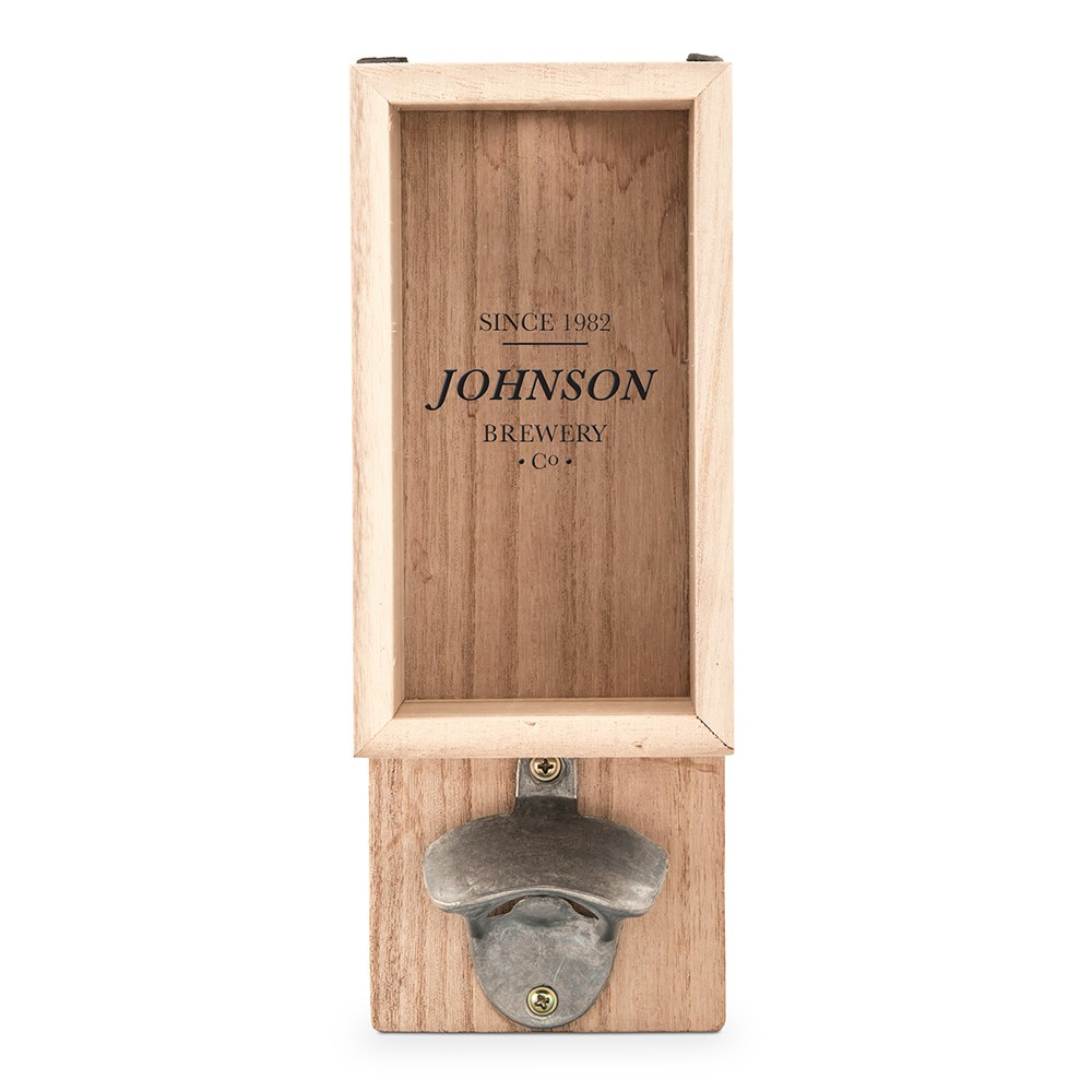 Personalized Wall Mounted Bottle Opener & Bottle Cap Holder - Brewery Co