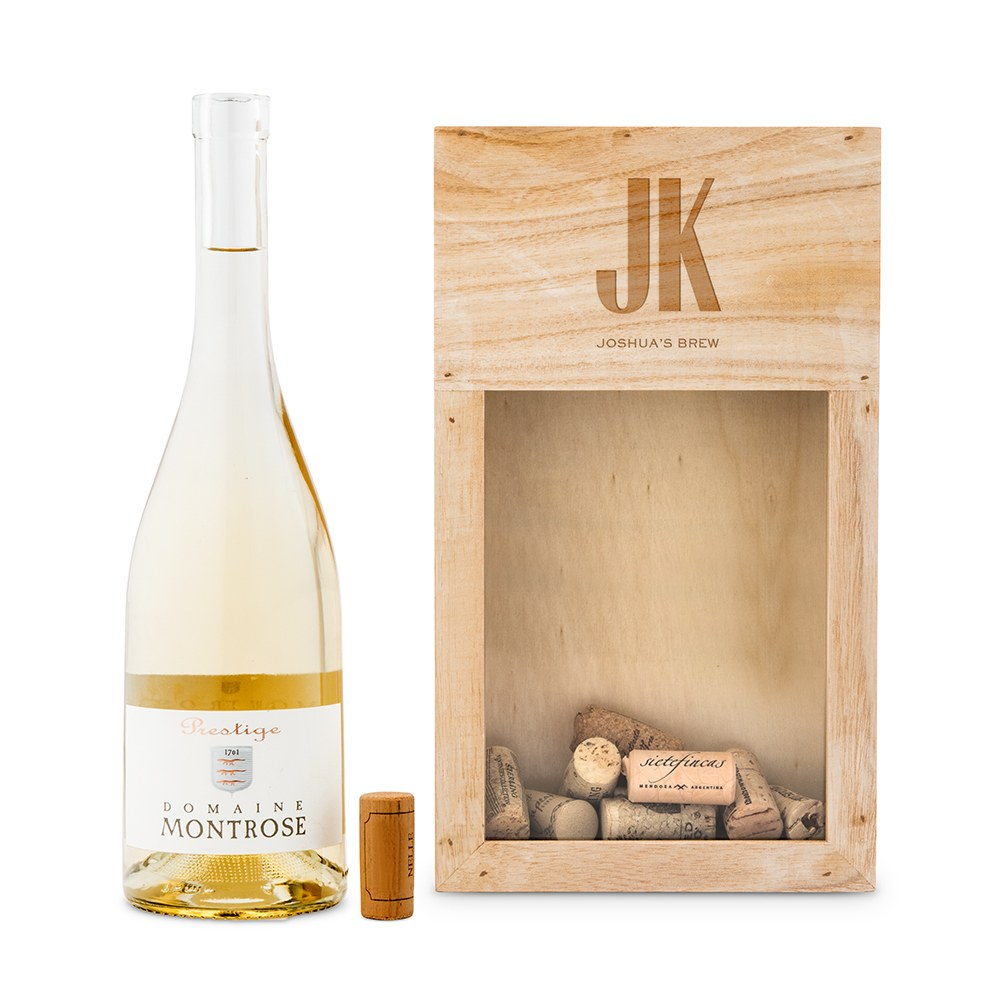 Personalized Wooden Wine Cork Holder Shadow Box - Sans Serif Monogram