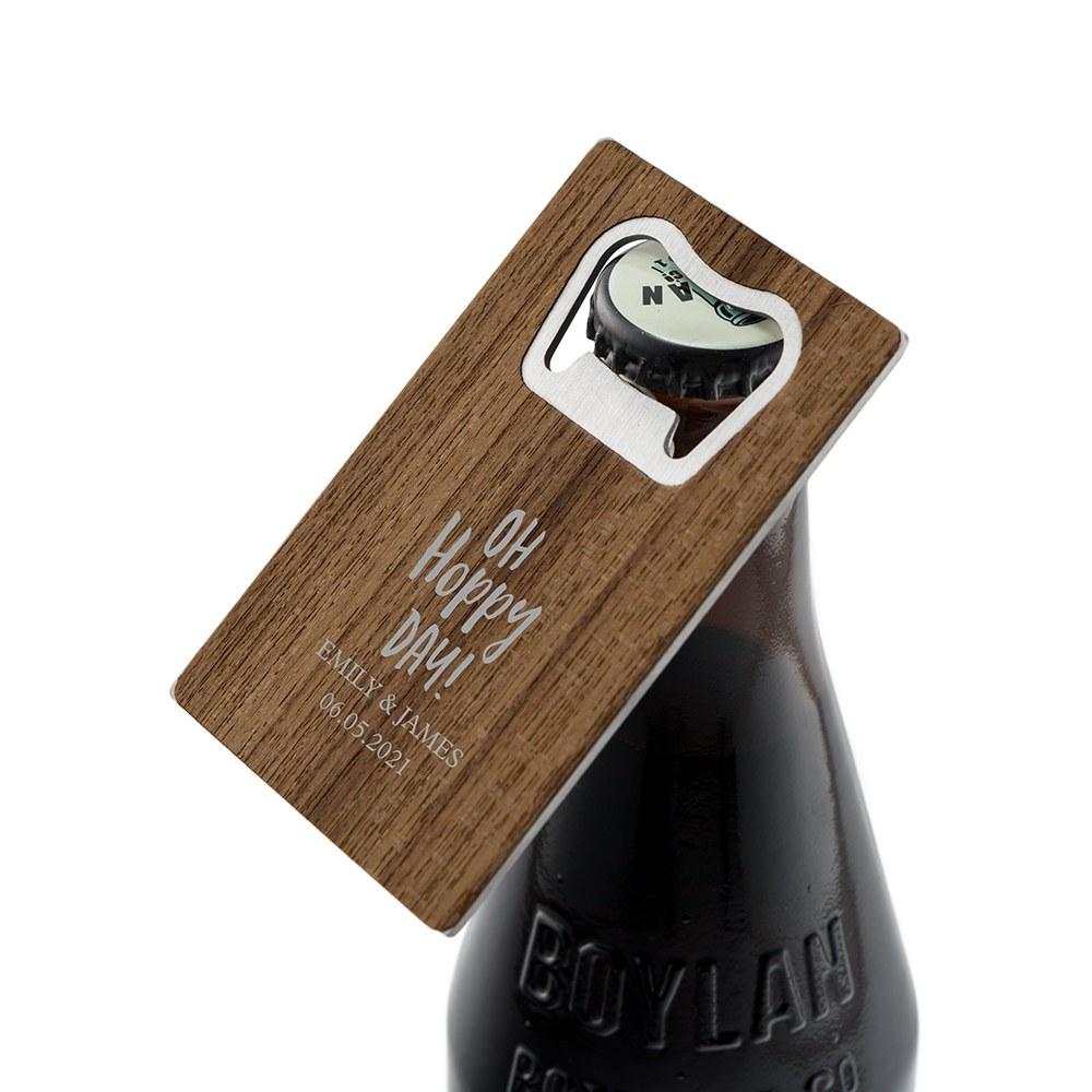 Personalized Wood Veneer Credit Card Bottle Opener Favor