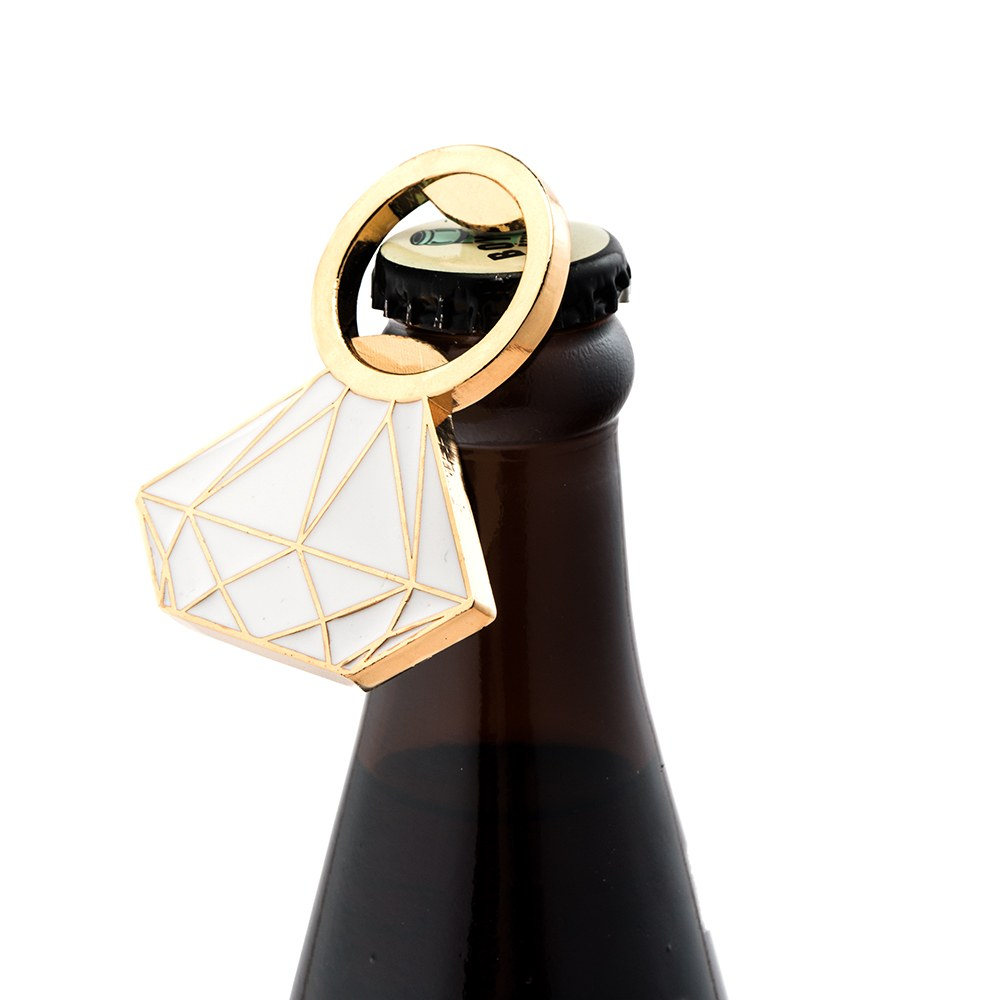 Flat Metal Diamond Ring Bottle Opener - Gold