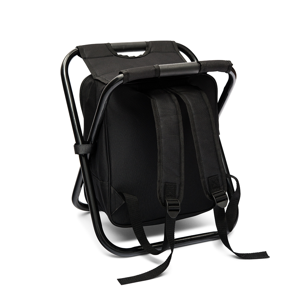 Personalized Black Folding Cooler Chair Backpack - Monogram Embroidered