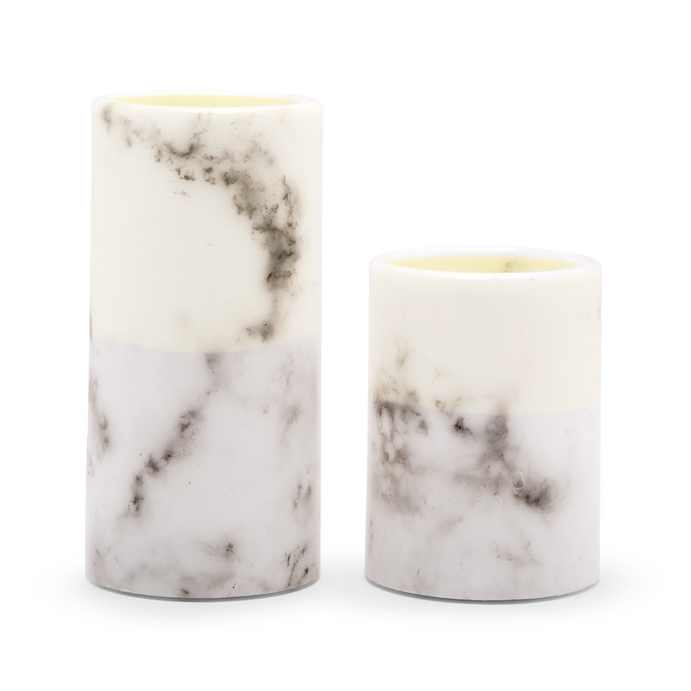 Artificial Flameless LED Pillar Candle Set of 2 - White Marble