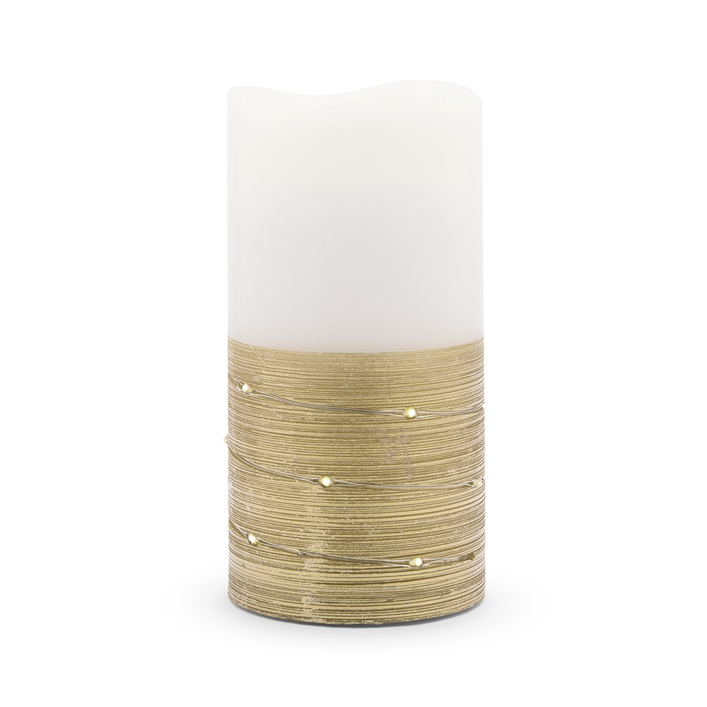 Artificial Flameless LED Pillar Candle - White & Gold Wire