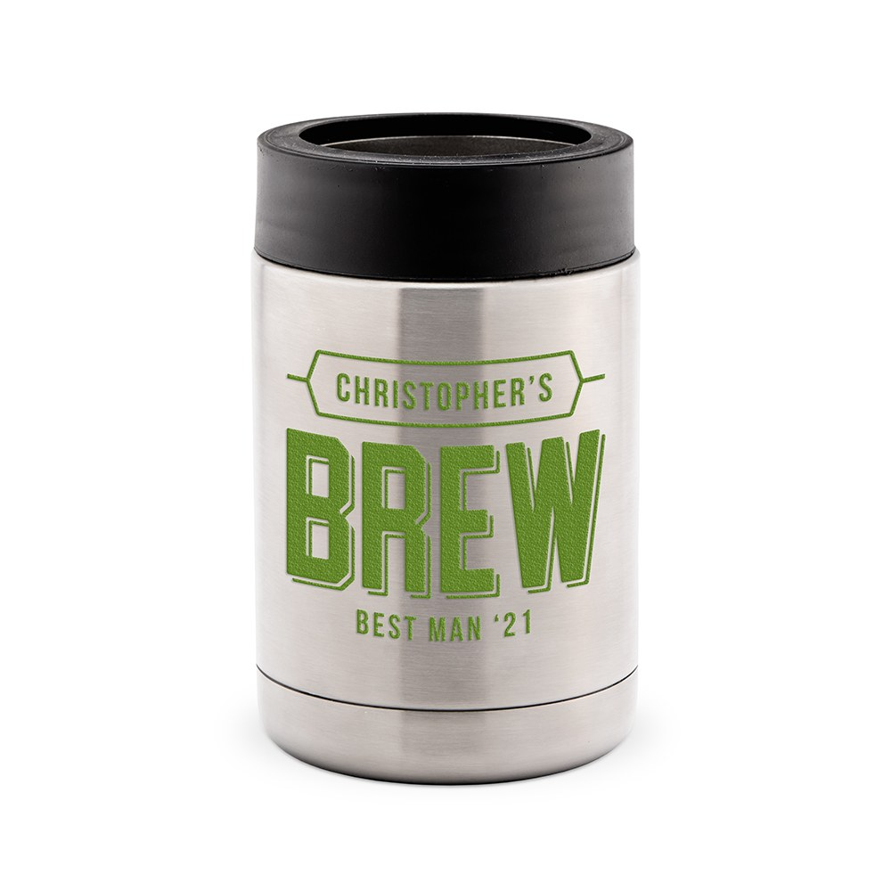 Custom Stainless Steel Insulated Beer Can Koozie - Brew