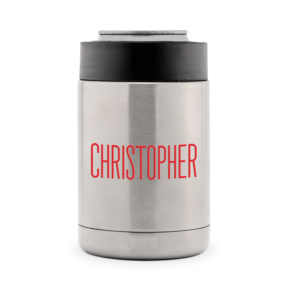 Custom Stainless Steel Insulated Beer Can Koozie - Modern Sans Serif