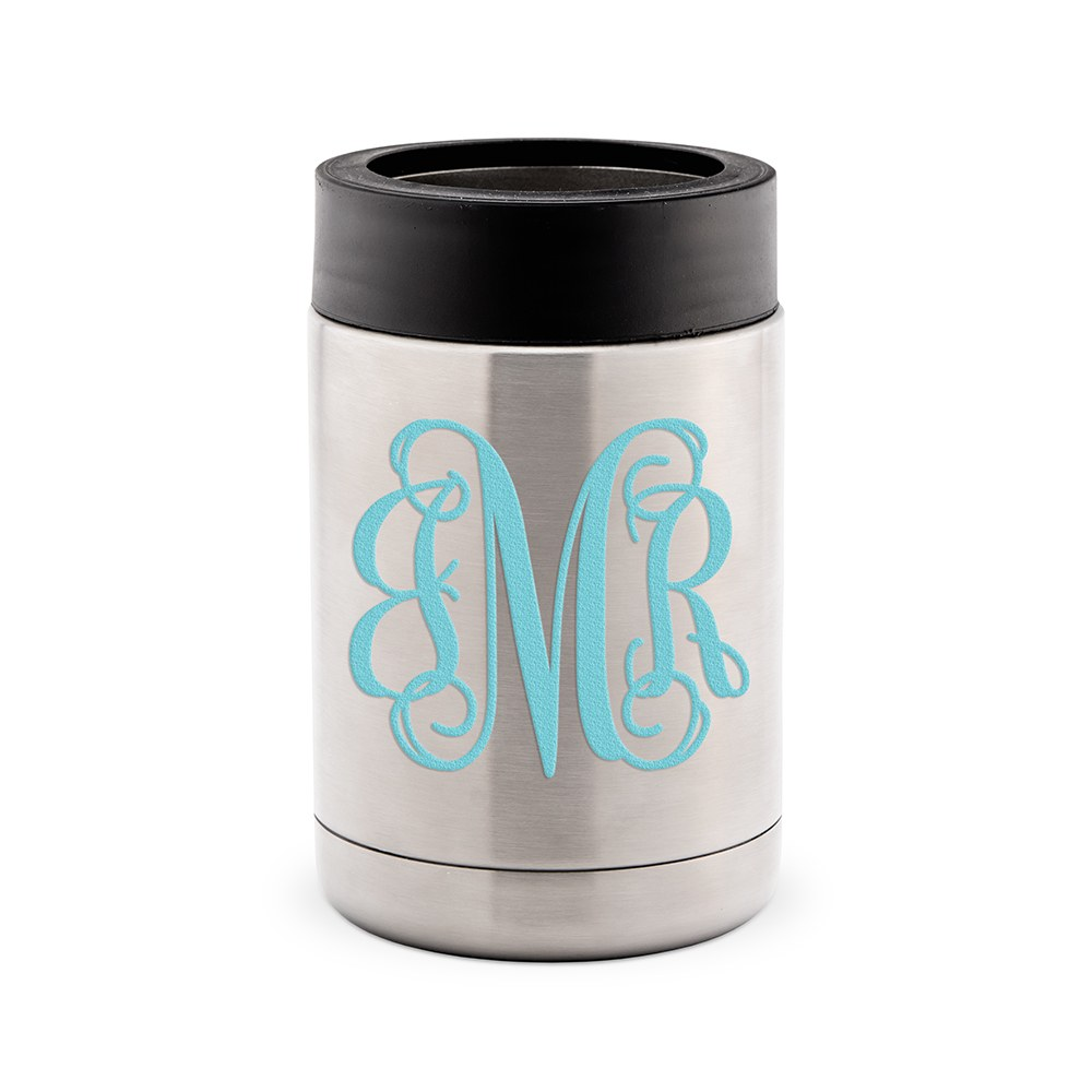 Custom Stainless Steel Insulated Beer Can Koozie - Script Monogram